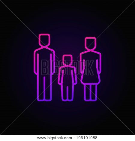 Family with one child colorful icon - vector mom, dad and their kid linear symbol or logo element on dark background