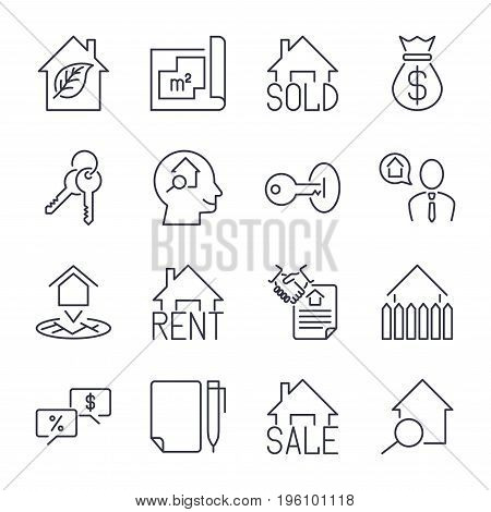 Real Estate Realtor Deals Icon Set. For Sale And Rent Signs. Eco House, Keychain, Contract And More.