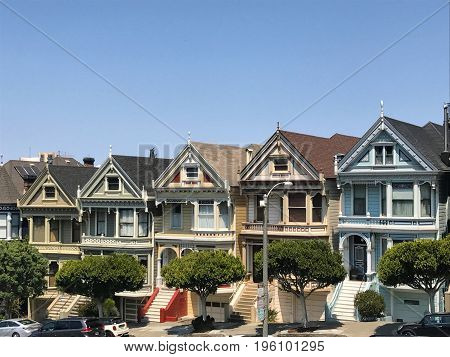San Francisco, CA (July 2017) - A row of Victorian style homes called