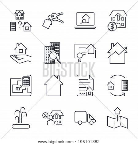 Home, Rent, Mortage Icons Set. Real Estate, Building, House, Construction, Contract Icon And Sign Co