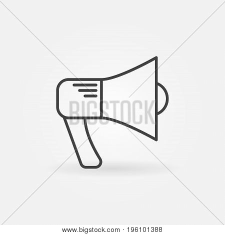 Megaphone outline icon - vector loudspeaker concept minimal symbol or design element in thin line style