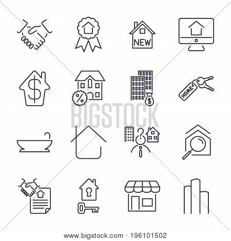 Real Estate Thin Icons. Handshake, Contract, Bilding, Bathroom, House And Other. Icon Set With Edita