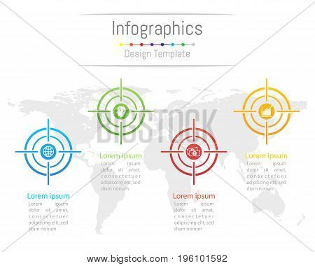 Infographic design elements for your business with 4 options parts steps or processes Vector Illustration. Elements of this image furnished by NASA