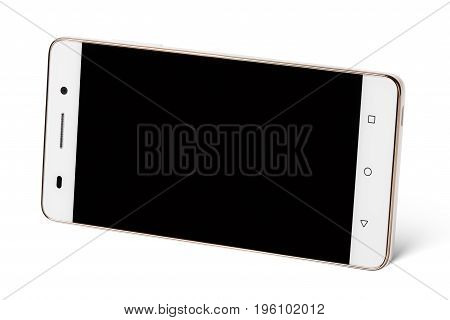 Modern white touch screen smartphone in horizontal isolated on white with clipping path