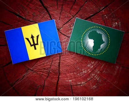 Barbados Flag With African Union Flag On A Tree Stump Isolated