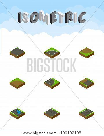Isometric Road Set Of Bitumen, Asphalt, Downward And Other Vector Objects