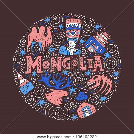 The vector illustration of the circle with main symbols of Mongolia and lettering.