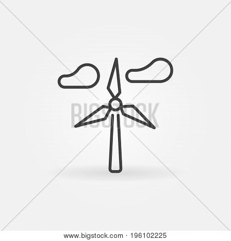 Wind generator icon. Vector wind turbine and clouds thin line symbol or design element