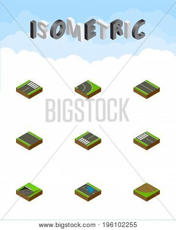Isometric Way Set Of Strip, Footer, Footpassenger And Other Vector Objects