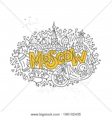 Travel to Moscow concept - hand drawn illustration with Kremlin and other main symbols.