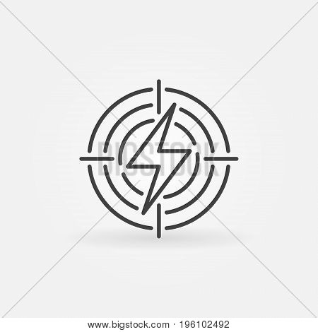 Lightning in target icon. Vector energy or electricity concept sign