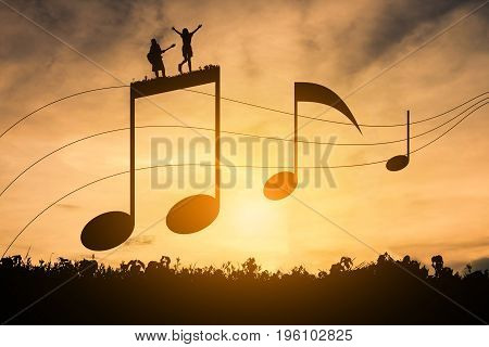 Silhouette music notation Happy note concept music.