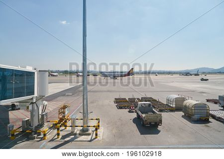 SEOUL, SOUTH KOREA - CIRCA MAY, 2017: view from Gimpo Airport Domestic Terminal. Gimpo International Airport is located in the far western end of Seoul.
