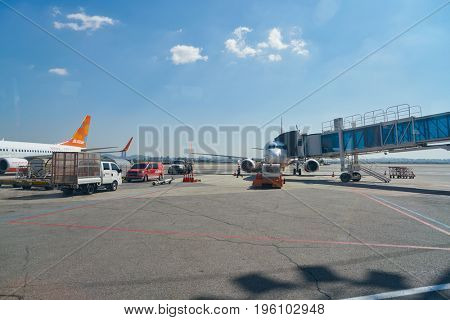 SEOUL, SOUTH KOREA - CIRCA MAY, 2017: passenger jet aircraft at Gimpo Airport. Gimpo International Airport is located in the far western end of Seoul.