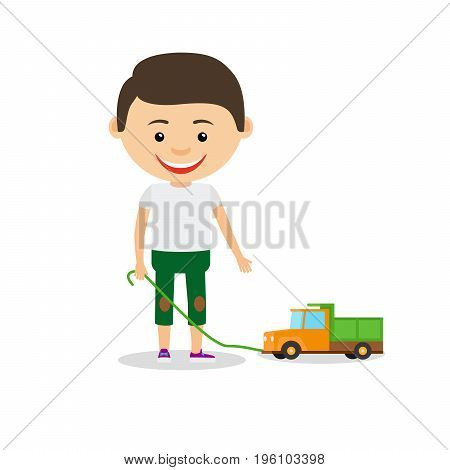 Little boy shows his toy car, isolated on the white background. Vector illustration