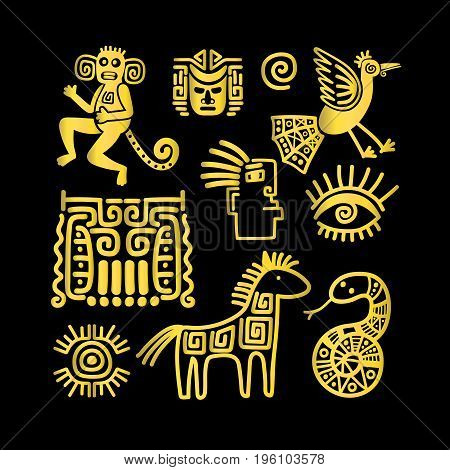 Aztec ancient animal golden symbols on black background. Vector illustration