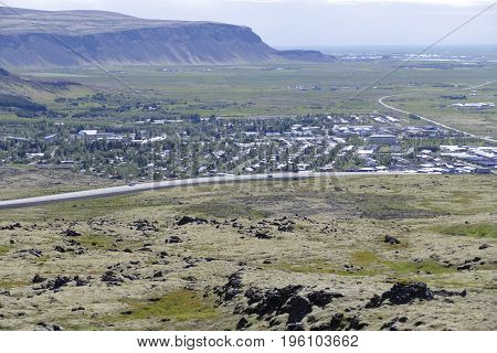 Aerial View Of Hveragerdi City In Iceland