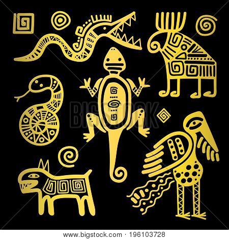 Vector mexican culture golden primitive tribal signs on black