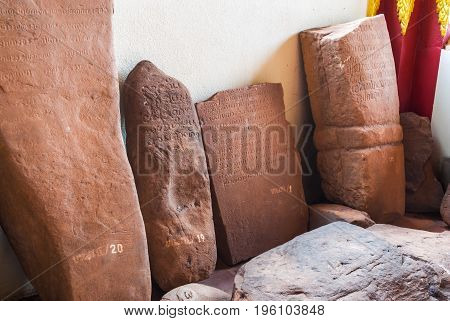Brown Stone Inscription in Ancient Laos Language Aged Over 350 Years