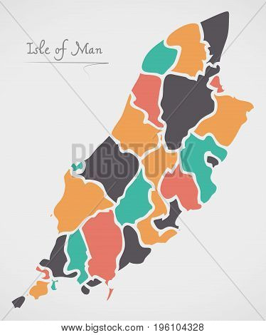 Isle Of Man Map With States And Modern Round Shapes