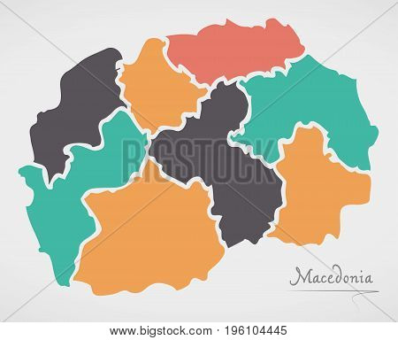 Macedonia Map With States And Modern Round Shapes