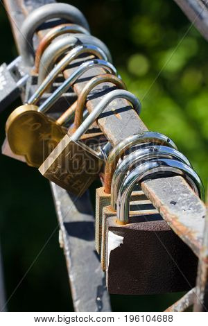 Bunch of locks. Metal lock Security, protection