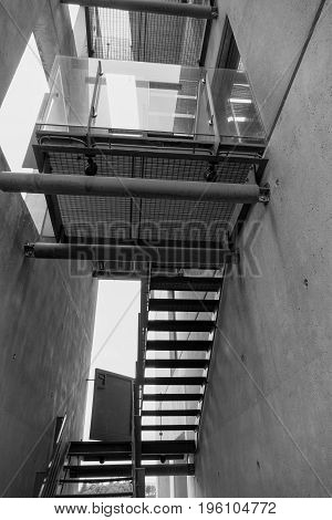 Outdoor Emergencky Metal Staircase On A Building