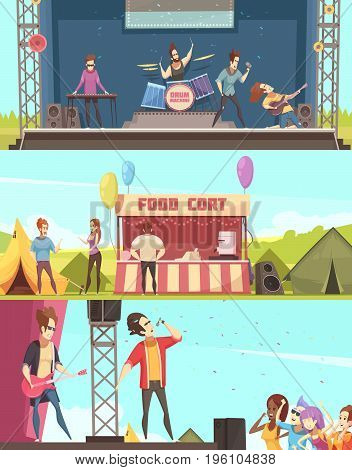 Open air festival players and audience 3 retro cartoon horizontal banners with stage tents food court vector illustration