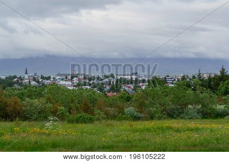 Reykjavik City Panorama In Iceland
