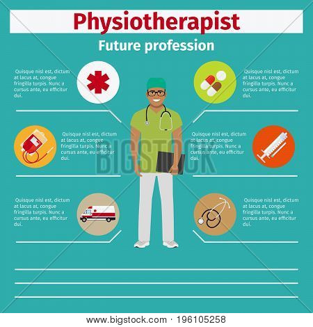 Future profession physiotherapist infographic for students, vector illustration