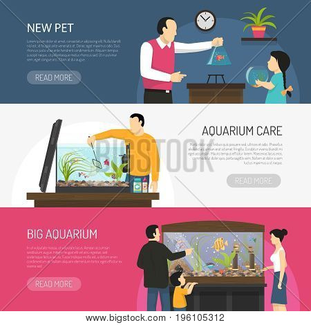 Horizontal flat aquarium banners with people watching and buying fish isolated vector illustration