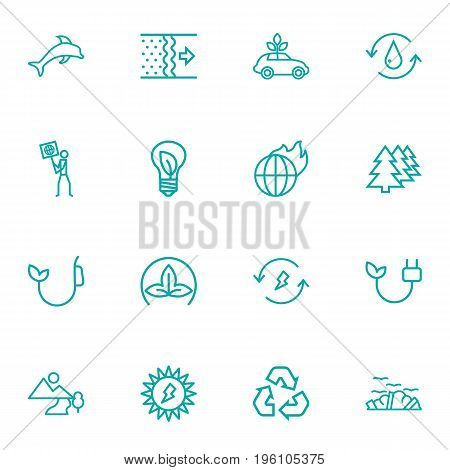Set Of 16 Ecology Outline Icons Set