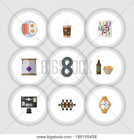 Flat Icon Oneday Set Of Cappuccino, Beer With Chips, Router And Other Vector Objects