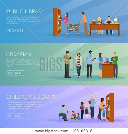 Library horizontal banners set with librarian symbols flat isolated vector illustration