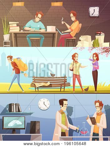 Set of horizontal retro cartoon banners with students during homework, chemical experiment, in park isolated vector illustration