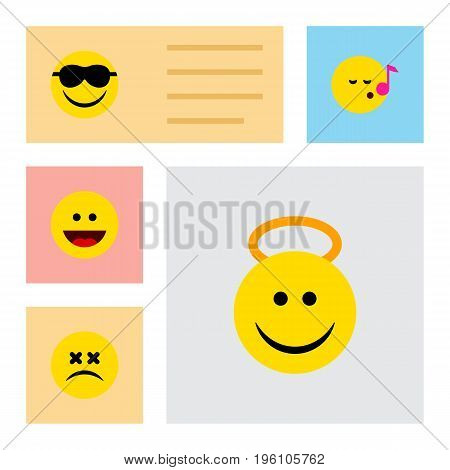 Flat Icon Expression Set Of Cross-Eyed Face, Angel, Descant And Other Vector Objects