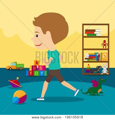 A boy runs around toys in kindergarten, vector illustration