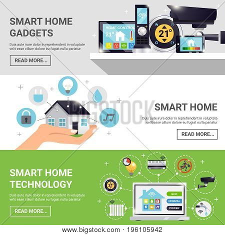 Three horizontal smart home horizontal banner set with smart home gadgets technology and read more buttons vector illustration