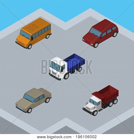 Isometric Car Set Of Auto, Freight, Lorry And Other Vector Objects