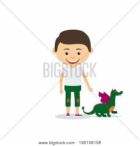 Little boy shows his toy dragon, isolated on the white background. Vector illustration