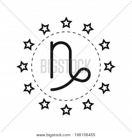 Capricorn. Sign of the zodiac. Flat symbol horoscope and predictions. Vector object for design