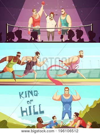 Competition banners collection with doodle style human characters of barbed male athletes in triumph situations vector illustration