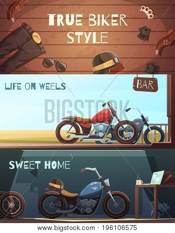 Set of three horizontal rider banners with bikers wear and motorcycle images in garage and outdoors vector illustration