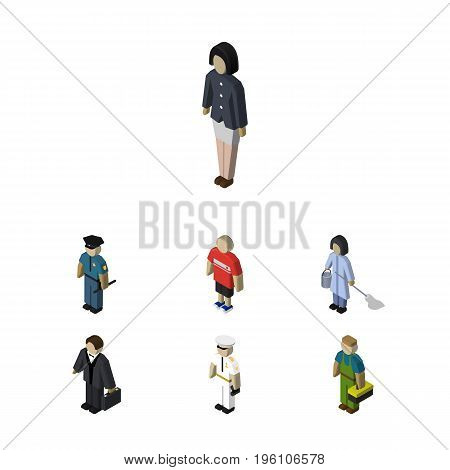 Isometric People Set Of Housemaid, Investor, Girl And Other Vector Objects