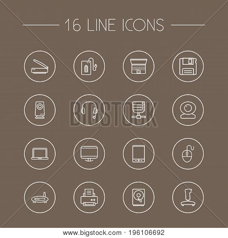 Set Of 16 Notebook Outline Icons Set