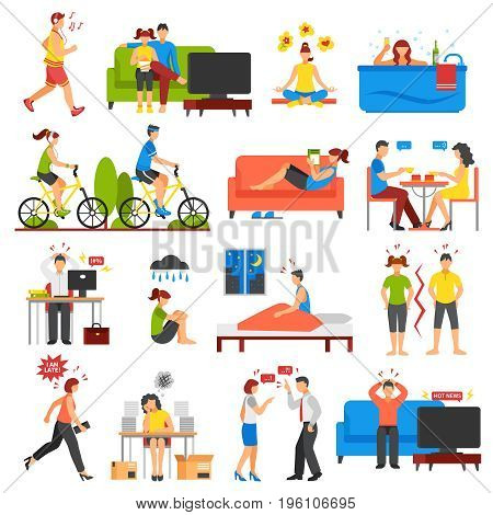 Isometric icons set of different ways of relaxation after stress and stressful working days isolated on white background vector illustration