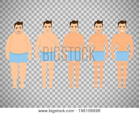 Man before and after a diet. Flat design, vector illustration isolated on transparent background. Concept of diet