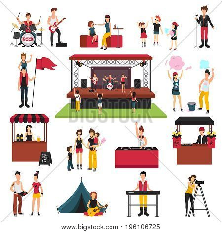 Open air festival isolated icons collection with human characters of fest visitors families musicians soda jerks vector illustration