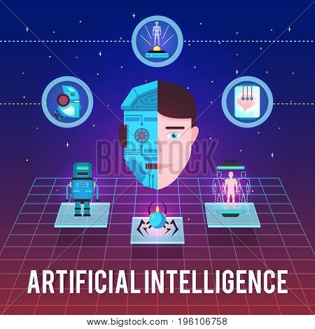 Artificial intelligence illustration with cyborg face hi-tech icons and robotic figures on stellar background vector illustration