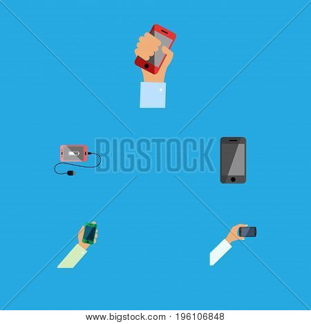 Flat Icon Touchscreen Set Of Telephone, Smartphone, Keep Phone And Other Vector Objects